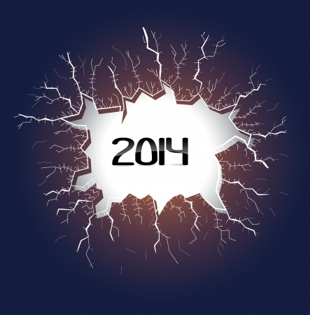 light hole with cracks with year 2014, illustration Vector
