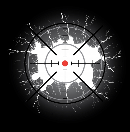 gun sight: Crosshair after shooting, hole throught broken glass Illustration