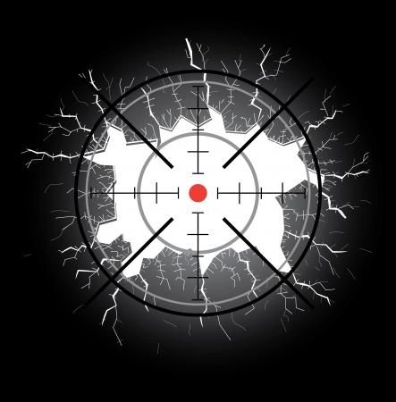 bullseye: Crosshair nach der Aufnahme throught Loch Glasscherben Illustration