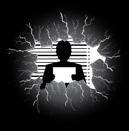 Police record man silhouette behind a broken glass table Vector