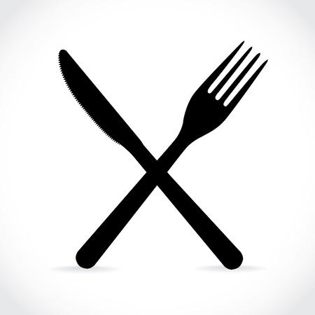 crossed fork over knife - illustration  イラスト・ベクター素材