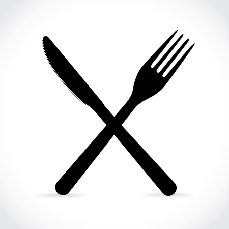 dinning table: crossed fork over knife - illustration Illustration