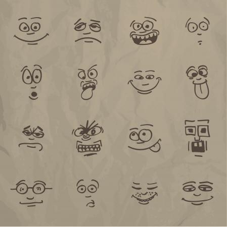sentimientos y emociones: Emoticons - boceto en un papel arrugado