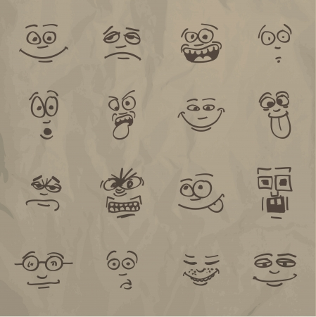 faces happy to sad: Emoticons - sketch on a crumpled paper Illustration