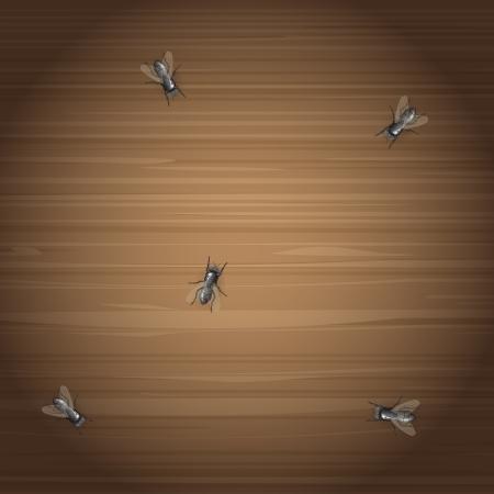 Plenty of flies on the wooden desktop Ilustracja