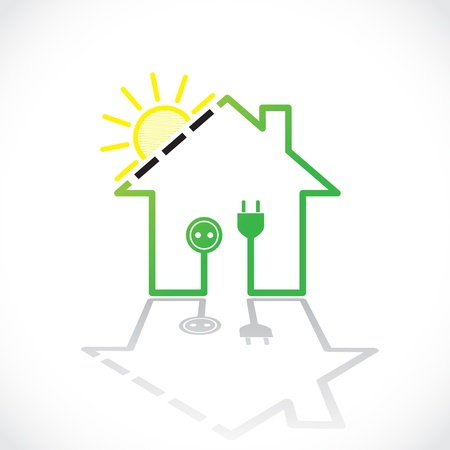 solar electric: Green house as simple solar electricity circuit - illustration