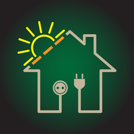 save energy icons: Eco house as simple solar electricity circuit - illustration