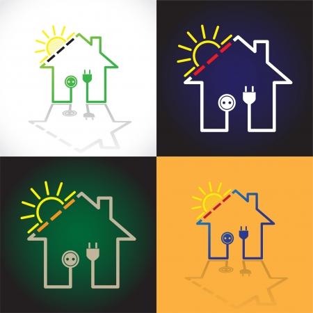 solar equipment: Conjunto de casas ecol�gicas como el circuito de la electricidad solar sencilla - ilustraci�n Vectores