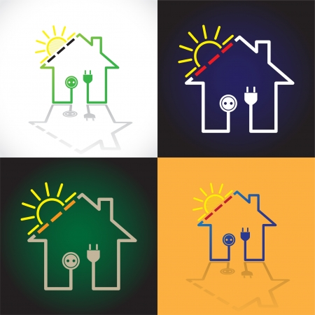 solar roof: Set of eco houses as simple solar electricity circuit - illustration Illustration