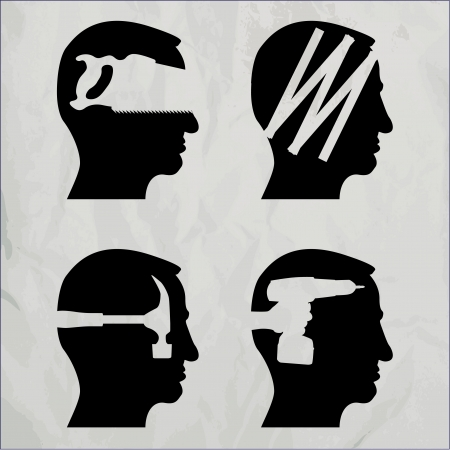 diy tool: Heads with DIY tool theme - illustration