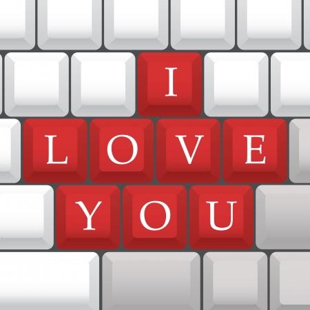 I Love You symbol on PC keys - illustration Illustration