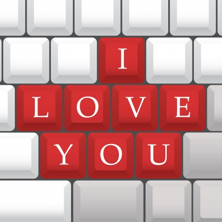 dear: I Love You symbol on PC keys - illustration Illustration