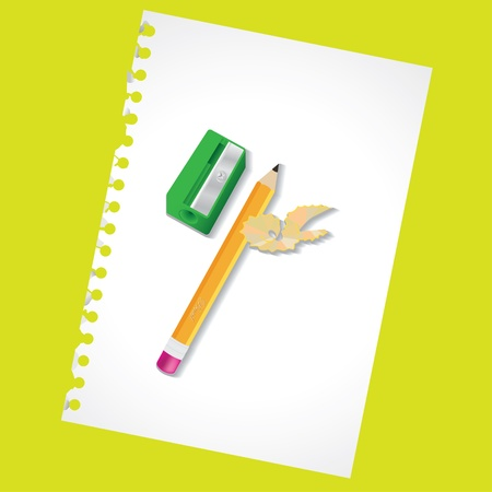 Sharpened pencil and the sharpener - illustration Vector
