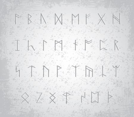odin: Old runes on stone table - illustration