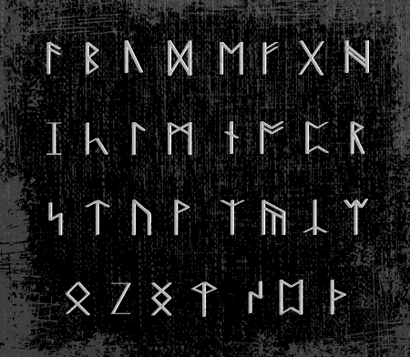 runes: Old runes on stone table - illustration
