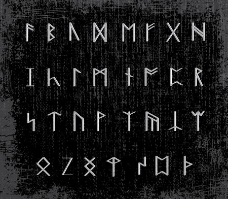Old runes on stone table - illustration
