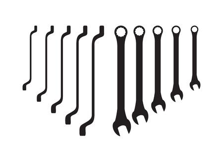 chrome vanadium: Set of steel spanners silhouettes - illustration Illustration