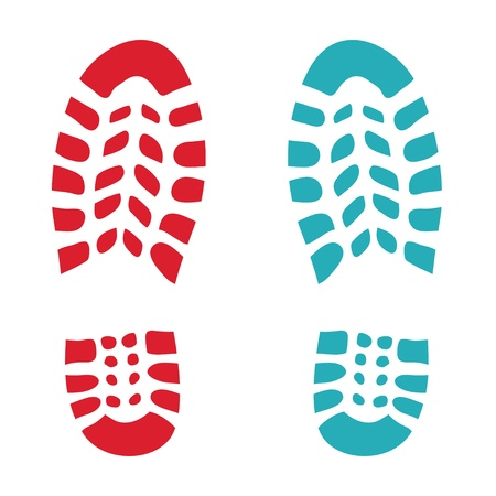 boot shoes: Shoe red and green footprint - illustration