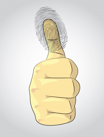 fingermark: Thumb up and fingerprint - illustration Illustration