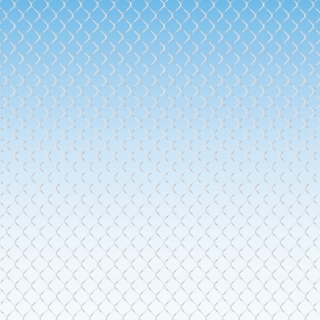 enclose: wired fence on a blue background - illustartion