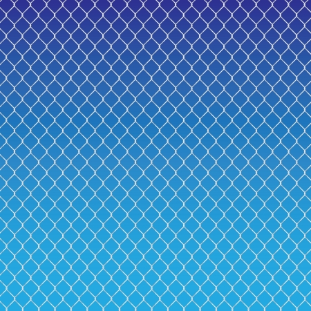 chained link fence: wired fence on a blue background - illustartion