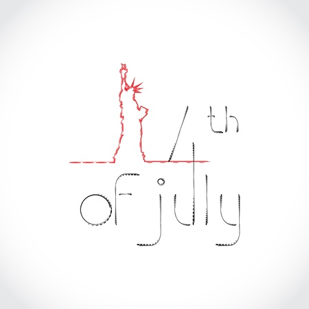 4th of July Theme with The Statue of Liberty Vector