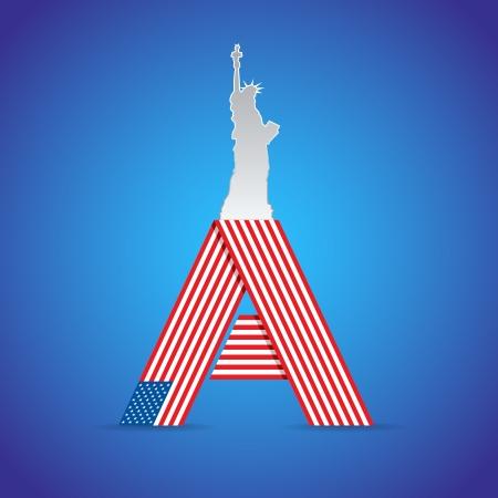 ny: USA symbolic illustration from classical symbols
