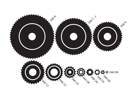 Cog wheels, set of different sizes and description - illustration Stock Vector - 20607598
