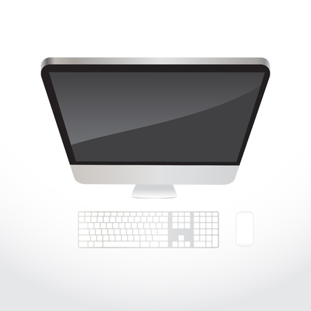 looking at computer screen: Desktop all-in-one aluminium computer, top view - illustration