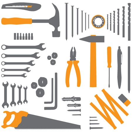 diy tool: Isolated silhouette illustration of DIY tool