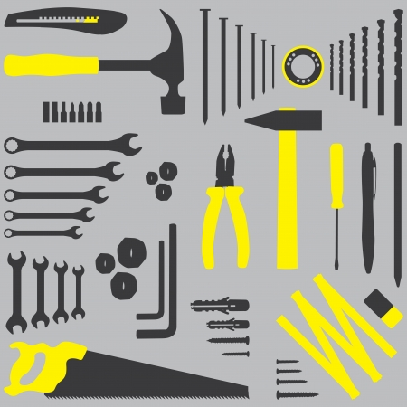 construction equipment: Isolated silhouette illustration of DIY tool
