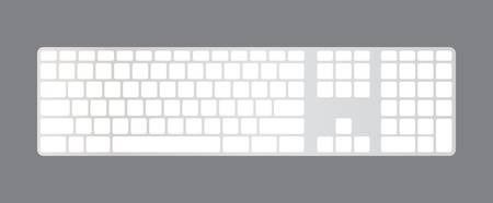 Isolated minimalistic computer keyboard, blank, illustration Vector