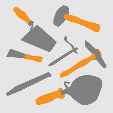brick work: Set of basic mason tool - illustation