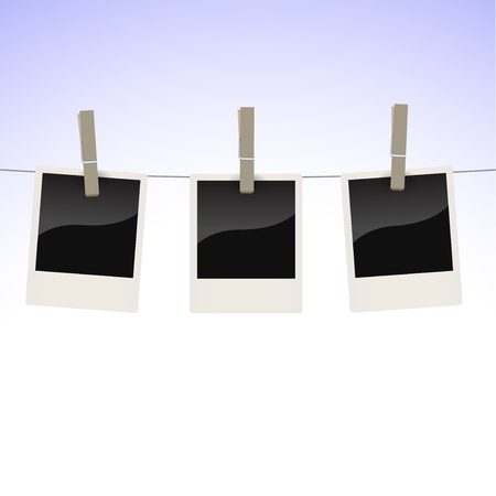 clothespin: Collection of photos hanging on a clothesline, fix by pegs Illustration