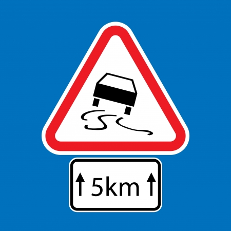 skidding: set of road signs - isolated illustration Illustration