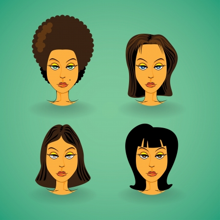 long straight hair: Set of women model hairstyle - illustration