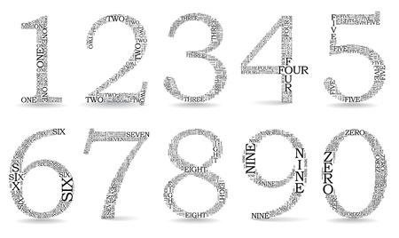 created: Set of numbers, each created from text tittles - illustration