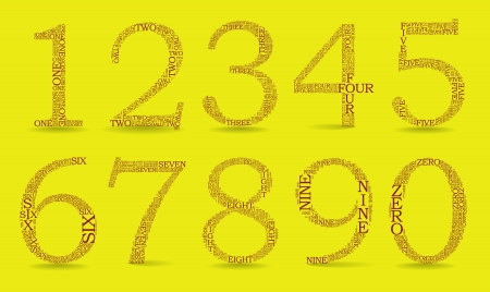 3 4: Set of numbers, each created from text tittles, drop shadow - illustration