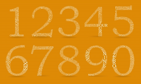 Set of numbers, each created from text tittles, drop shadow - illustration Vector