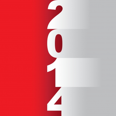 new year 2014 tittle, paper cuts on a red background - illustration Vector