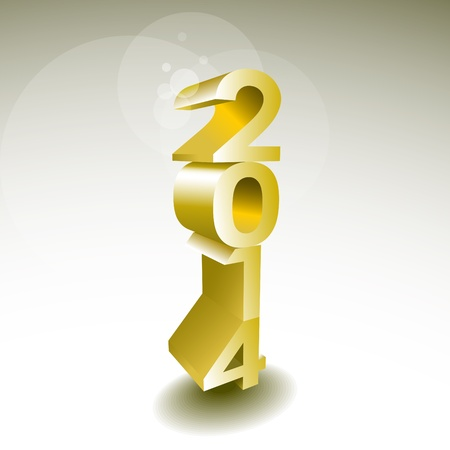 2014 New year golden 3d sign - illustration Vector