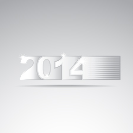 New year 2014 tittle, closeup illustration Vector
