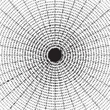 vandal: Broken glass pattern in central hole and crackles outlines - illustration