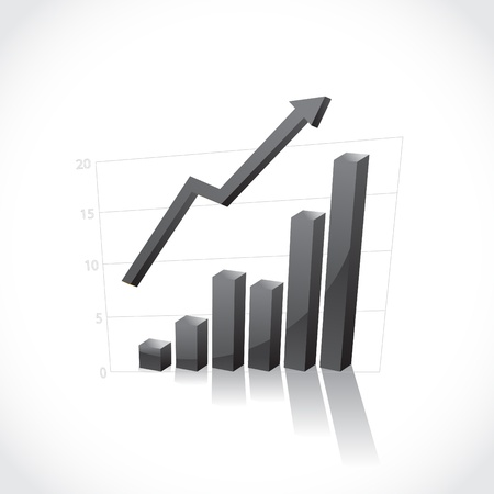 stock market graph: 3D business graph with increasing process - illustration