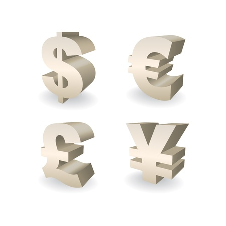 dollar sign icon: 3D Currencies symbols, Dollar, Pound, Euro and Yen illustration