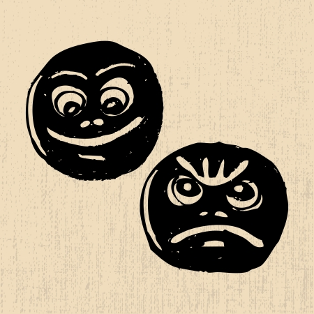 Grunge theatre masks lucky and sad, on a coarse structure background Vector