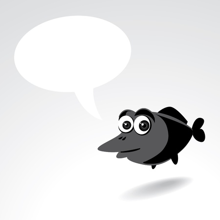 goldfish jump: Cartoon fish character with a text bubble