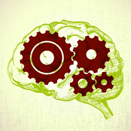 cogs and gears: human brain sketch with cogs (gears) - illustration