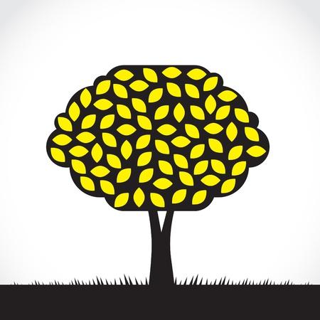 Abstract symbolic lemon tree illustration, with yellow fruits Illustration