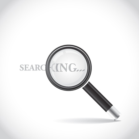 magnification: Icon of magnifying glass, drop shadow - illustration Illustration
